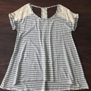 Tops - SALE🌸3/$20 Gray Striped Shirt With Lace Detail